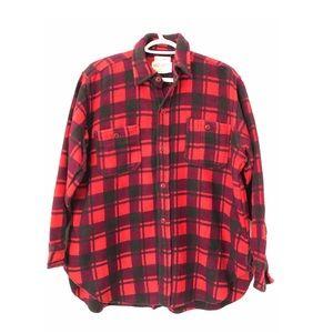 Vntg 80s Champion Lumberjacket Heavy Fleece Red L
